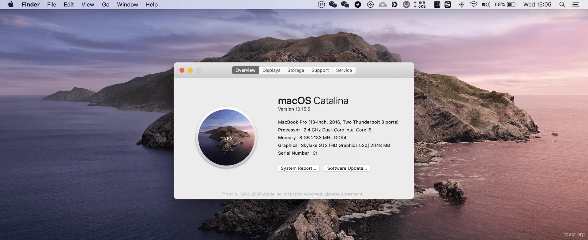 小米air 13安装黑苹果10.15.5效果图